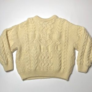 VTG 80's Arancrafts Cream Knit Wool Sweater, Thick